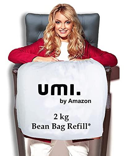 Amazon Brand - Umi. Premium 2 Kg Bean Bag Refill/Filler - Sun White (2 kg Beans - 1400 Grams net Weight as per Indian Standards)