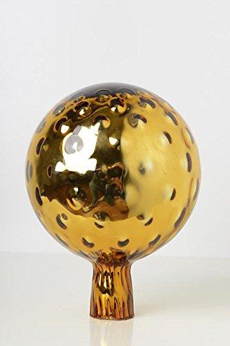 Rosenkugel aus Glas für den Garten – perfekte handgemachte Garten-Dekoration für Ihr Blumenbeetin vielen Farben, Formen und Größen, Hoche 18cm und Durchschnittlich 12cm, Gold trauben Optik
