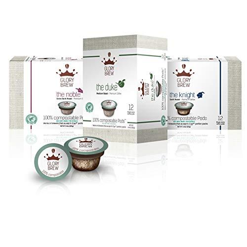 GLORYBREW - 36 K Cup Variety Pack - 100% Compostable Keurig Coffee Pods - Rainforest Alliance Certified Medium & Dark Roasts Biodegradable