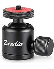 Zeadio Stativ mini kulhuvud, metallmonteringsadapter för kameror, DSLR, monopod, skjutreglage, stativ, selfiepinne etc