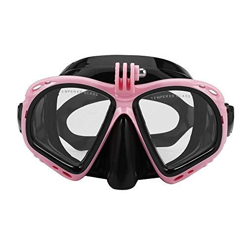 Gafas de natación profesional para buceo subacuático, máscara de buceo, esnórquel, gafas de natación, equipo de buceo adecuado para la mayoría de cámaras deportivas (color de color rosa)