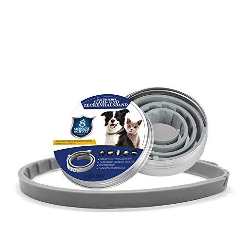 adraw Zeckenhalsband für Hunde | Flohhalsband für Katzen | Natürliches Präventionshalsband | gegen Zecken, Flöhe & Milben | passend für kleine, mittlere und große Haustiere| Bis zu 8-Monatiger Schutz