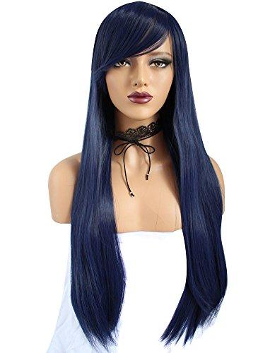 ANOGOL Long Straight Cosplay Wig in Dark Blue