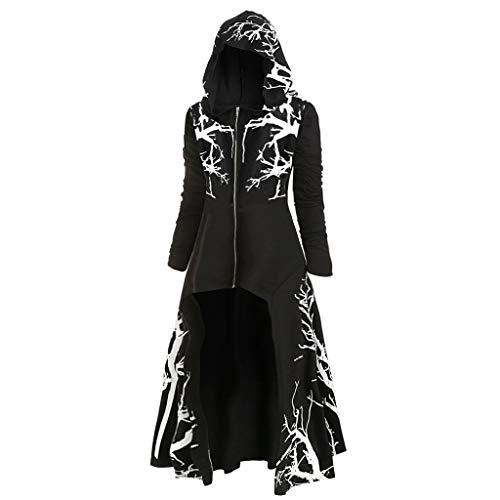 Reooly suéter de Capa Retro Alto y bajo de Moda para Mujer con Capucha de Gran tamaño de Manga Larga Camisa Caliente Traje de Falda