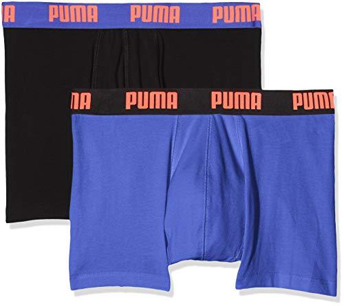 PUMA Herren Basic Boxer 2P Badehose, Schwarz (Blue/Black 004), XL (2er Pack)