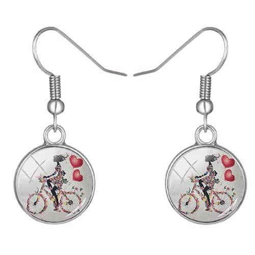 Marca Vintage Bicicletas Pendientes Flor Mariposa Niña Antigua bicicleta hombres mujeres hipster...