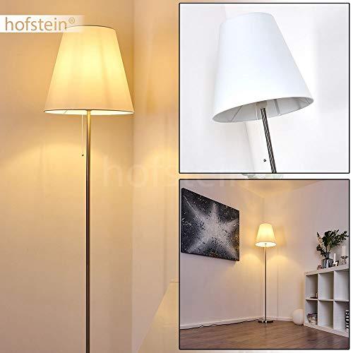 Stehlampe Nuoro, moderne Stehleuchte aus Metall/Stoff in Weiß/Stahl, 1 x E27 max. 40 Watt, Höhe 161 cm, Ø 35 cm, Bodenlampe mit Textil-Schirm und Zugschalter zum An-/Ausschalten