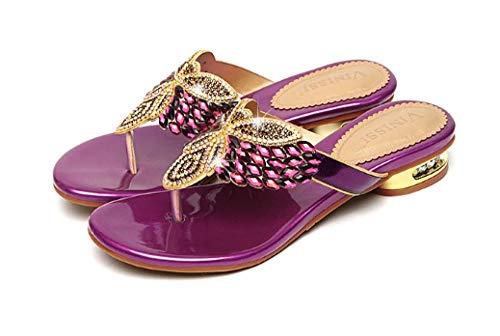lxylllzs Flip, Chanclas para Mujer,Chanclas de Playa con Fondo Plano, Zapatillas de Cuero de Diamantes de imitación-púrpura_35,Chanclas para Mujer Chanclas,