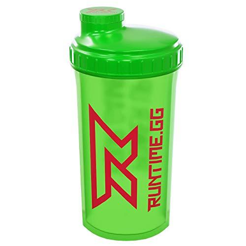 Shaker für Whey Protein Shake – Eiweiß Pulver Shaker, Premium Fitness Flasche – mit Sieb, Drehverschluss und Mess-Skala - 700ml, Neon Green, von Runtime