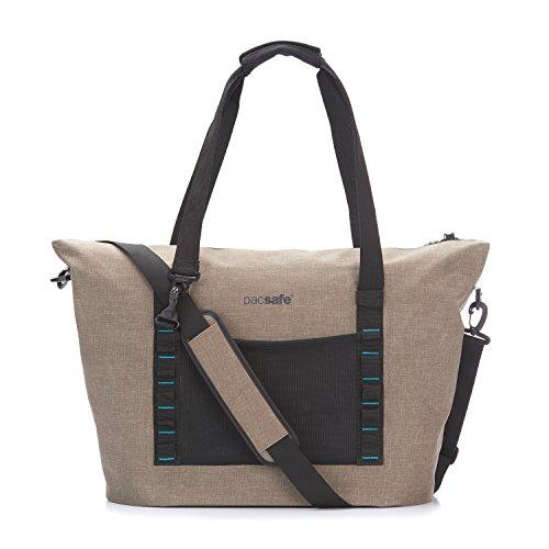 Pacsafe Dry 36 L Beach Bag, große wasserfeste Strandtasche, Anti-Diebstahl Schultertasche, wasserresistente Tragetasche mit Diebstahlschutz, Sicherheits-Features - 36 Liter, Beige / Sand