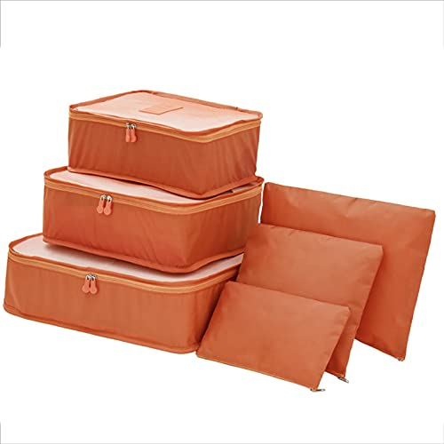 FVIWSJ 6 Set Organizadores de Viaje Cubos de Embalaje para Ropa, organizadores de Equipaje Grandes Cubos de Embalaje,Naranja