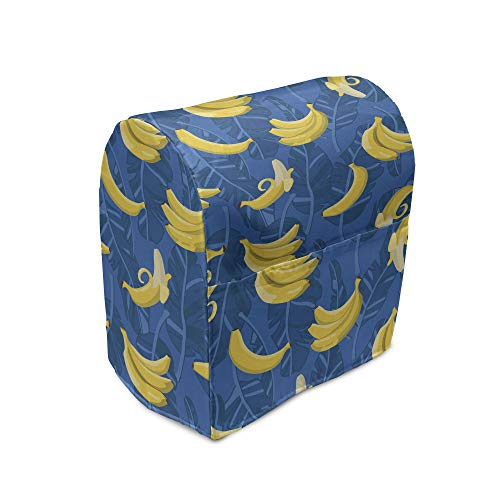 Lunarable Tropical Stand Mixer Cover, Exotic Banana Leaves Brazilian Rainforest Fruits Bicolour Repetition, Kitchen Appliance Organizer Bag Cover with Pockets, 6-8 Quarts, Cobalt Blue and Yellow