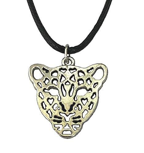 Colgante de plata con cabeza de leopardo, Pantera, Tigre, León, cordón negro, para disfraz, fiesta, tribal, gótico, joyería de animales para mujeres, niñas, hombres y niños
