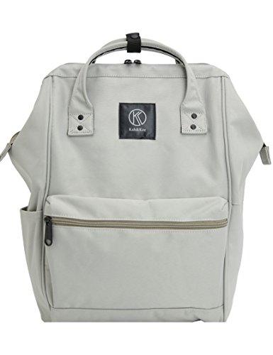 Kah&Kee Polyester Travel Backpack Functional Anti-theft School Laptop for Women Men (Light Gray, Large)