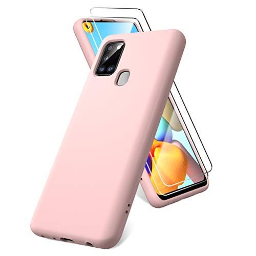 Oududianzi Funda para Samsung Galaxy A21s, Protector Pantalla Cristal Templado, Carcasa de Silicona Líquida Gel Ultra Suave Funda con tapete de Microfibra Anti-Rasguño - Rosa