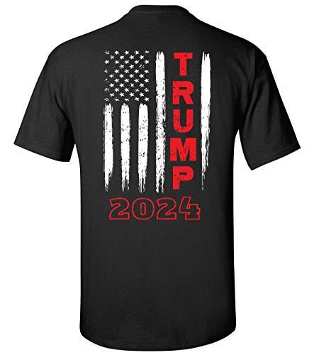 Political Trump 2020 American Flag Adult Short Sleeve T-Shirt-Black-XL