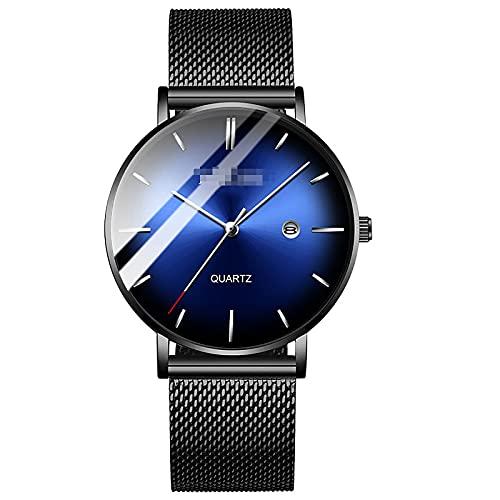 BBZZ Reloj Moderno Moderno Moderno Moderno Moderno Ultra Thin, Diseño Clásico, Diseño Simple, Tipo de Cabeza de Cebolla y Correa de Acero Inoxidable