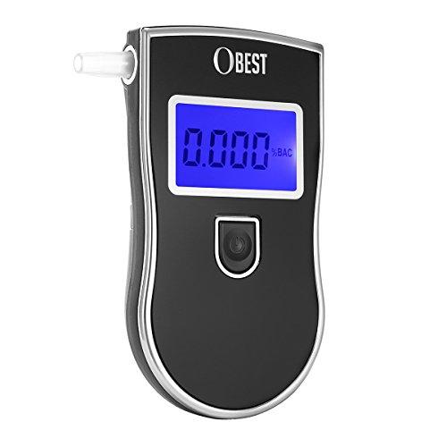 OBEST Alkoholtester Polizei Atemalkohol-Tester LCD Display 5 Mundstücke