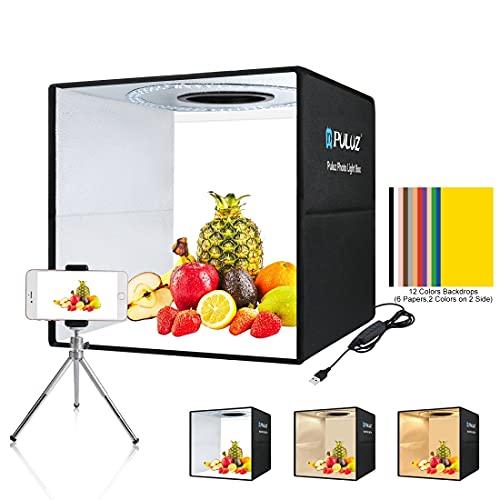 Photo Box 16  x 16  Quick Install Foldable Portable Studio Kit with Soft Light Cloth Professional Photography Equipment Adjustable White Light, Soft Light, Warm Light