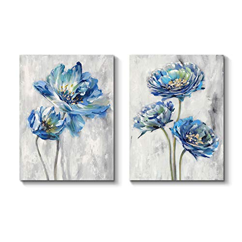 Blue Flower Artwork Canvas Picture: Floral Painting Bloom Wall Art Print on Canvas for Dining Room