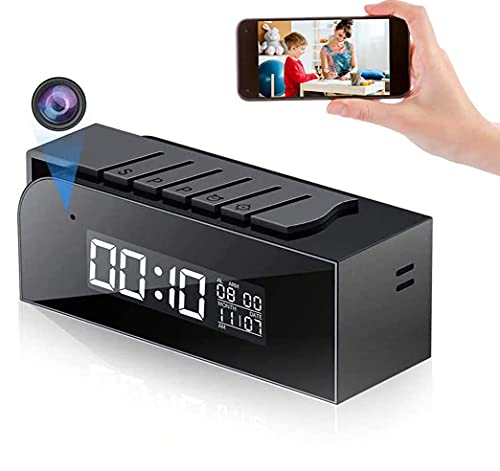 Hidden Spy Camera Clock 1080P HD Wireless Mini Camera with Remote Viewing, Motion Detector with Alarm, 33 FT IR Night Vision, 12H/24H Display, Live Streaming Tiny Camera for Home/Office, Upgraded