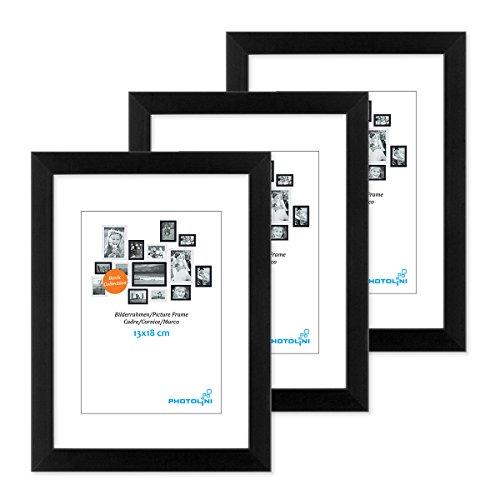 PHOTOLINI 3er Set Bilderrahmen 13x18 cm Modern Schwarz aus MDF mit Acrylglas/Portraitrahmen/Wechselrahmen