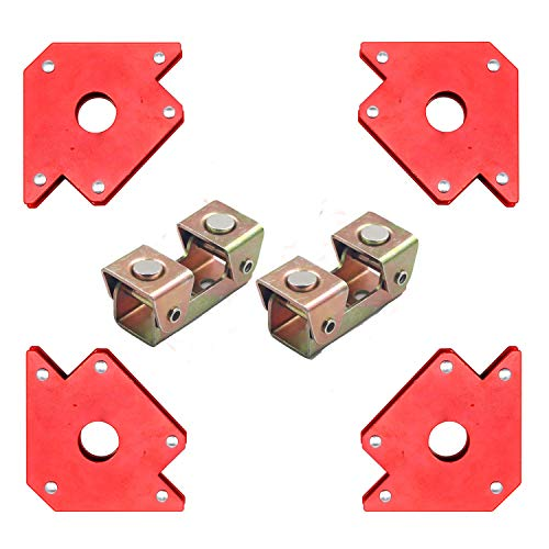 4 Pieces 50 Pounds Welding Magnet Arrow Magntic Holder And 2 Pcs V Type Welding Clamps, Welding Magnets and Clamp For Megnetic Workshop Soldering Welder Equipment