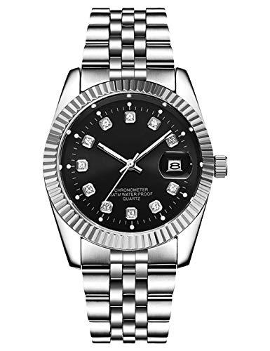 Herrenuhr wasserdichte Businessuhren Silber Edelstahl Analog Quarz Armbanduhr Datum leuchtende Uhren für Herren