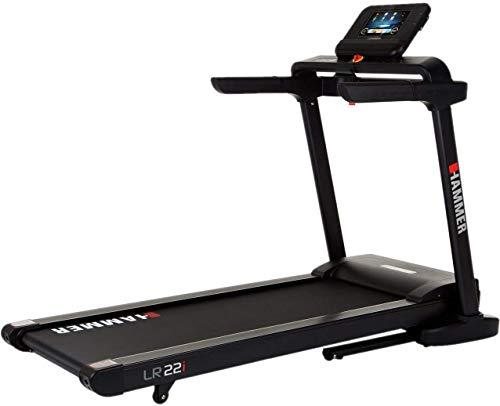HAMMER Laufband Life Runner LR22i TFT, platzsparendes Fitnesslaufband zum Klappen, gelenkschonende Lauffläche, Handpulssensoren, 10 Zoll Display, Fitness-App, 12 Programme, 199 x 85 x 152 cm