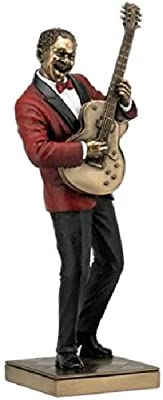 12.75 Inch Guitar Player Cold Cast Decorative Figurine, Bronze Color
