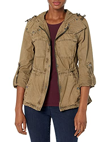 Levi's Women's Cotton Lightweight Fishtail Hooded Military Jacket, Khaki, Medium