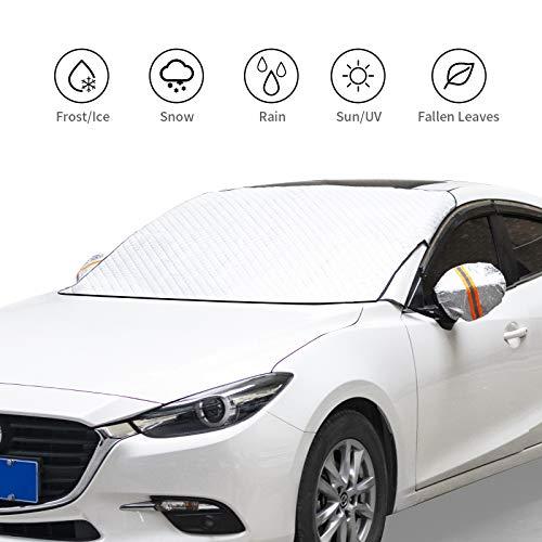 Auto Windschutzscheibe, Magnetische Schneedecke mit Zwei Spiegelabdeckungen, Windschutzscheibe Eisabdeckung Staub Sonnenschutz Schutz bei jedem Wetter