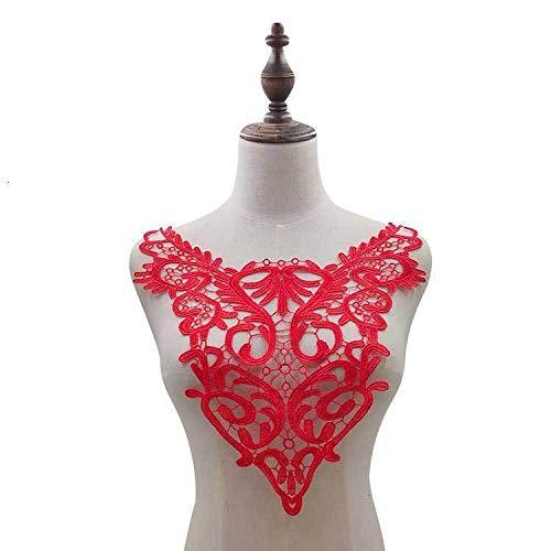 Gxbld-yy 1PCS Elegante Sew Fleckenapplique-Baumwolltuch-Spitze-Gewebe Abendkleid Guipure-Spitze-Kragen-Ausschnitt Trim DIY Zu (Farbe : Rot)