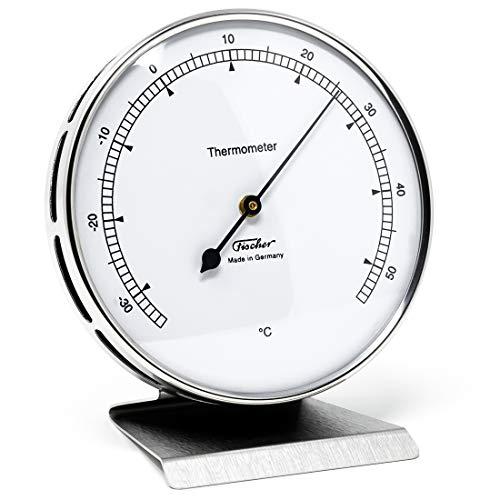 Fischer 117.01-01 - Thermometer für Innen - 103mm Bimetall-Thermometer aus Edelstahl mit Metall-Standfuß Made in Germany