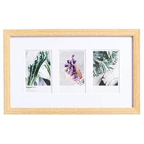 Amazon Basics - Marco de fotos de Instax, 3 huecos, 8 x 5 cm, efecto madera natural