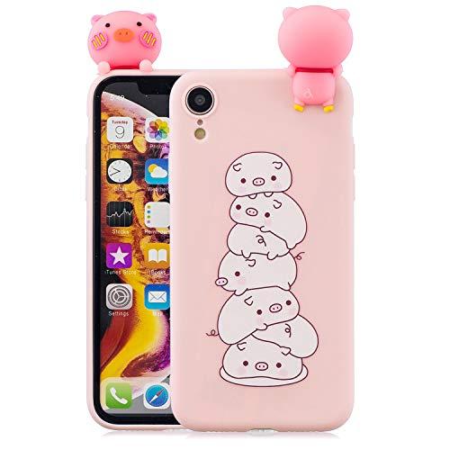 Cover iPhone XR Custodia, Dyluck Cover per iPhone XR in Silicone Morbido 3D Case Kawaii di TPU Sottile Custodia per iPhone XR Smartphone Anti-Urto Bumper,Maiale 2