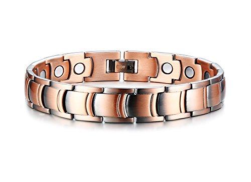 VNOX Magnetic Therapy Armreif 99,9% Reine rote Kupfer Armbänder für Arthritis Schmerzlinderung Armband für Männer, verstellbares Werkzeug, 12mm Breite