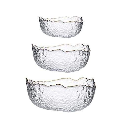 Wyxy Cuenco de Vidrio de 3 Piezas, Plato de Frutas Resistente al Calor, Cuenco de Ensalada Golden Penh, Cuenco de Dulces Irregular Creativo, Adecuado para Cocina, Cuenco