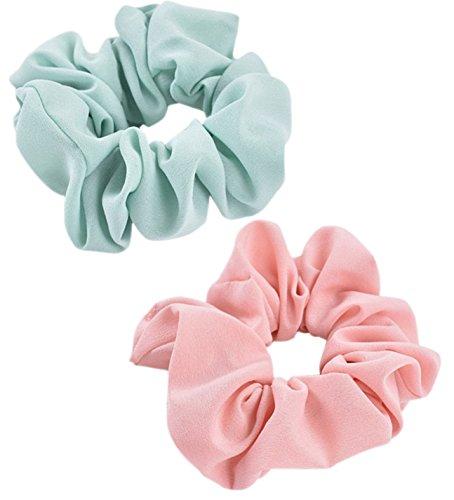 ILOVEDIY 2Stück Haargummi Haarband Scrunchies Set zopfgummi für Pferdeschwanz mint rosa