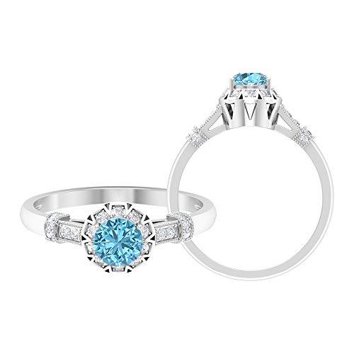 Anillo solitario vintage, piedras preciosas redondas de 0,66 quilates, diamante HI-SI 5 mm aguamarina, anillo Art Deco, anillo de ajuste de corona, 14K Oro blanco, Size:EU 46