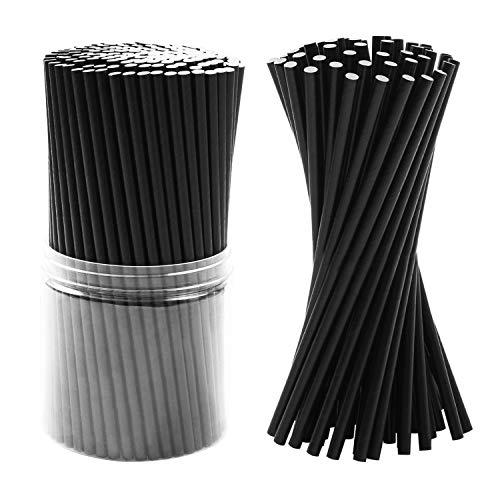 Tupa 350 Unidades Paja de Papel Desechable Biodegradable Respetuoso con el Medio Ambiente Decoraciones con Pajitas para Artículos de Boda y Favores de Fiesta (Negro) (Negro)