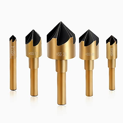 """Counter Sinker Drill Bit Set, High Speed Steel Countersink Drill Bit 5 Pcs 5 Flute 6mm Hex Shank with 82 Degree Mill Cutter Bit Countersink Bits for Wood and Metal in Sizes 1/4"""" 3/8"""" 1/2"""" 5/8"""" 3/4"""" Set"""