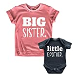 Big Sister Little Brother Outfit Matching Shirts Sets Baby Newborn Outfits Shirt (Mauve/Charcoal Black, Kid (2Y) / Baby (1-3M))