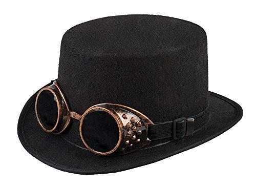 shoperama Schwarzer Zylinder mit bronzefarbenen Steampunk Goggles Gr. 59 Hut Brille Herren
