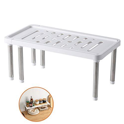 Küchenregal,34.8X18X15.5 cm Kleines Gewürzregal Aus Kunststoff Und Metall, Stapelbarer Küchen Organizer Für Geschirr Und Vorräte,Weiß