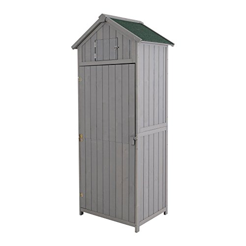 Outsunny Vertical Utility 3 Shelves Shed Wood Outdoor Garden Tool Storage Unit Storage Cabinet with Window77 x 54.2 x 179cm - Grey