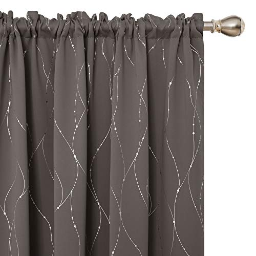 Deconovo Blackout Curtains Wave Line with Dots Foil Print Design Curtains Window Curtains with Rod Pocket for Living Room 52 x 63 Inch Taupe 2 Panels