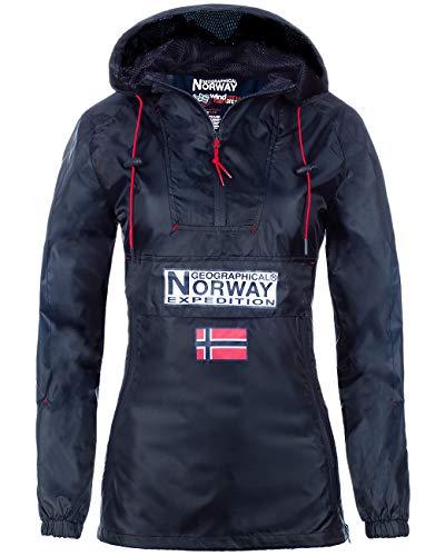 Geographical Norway Downcity Veste coupe-vent pour femme, bleu marine, L