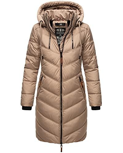MARIKOO Damen Winter Jacke Stepp Parka Mantel Winterjacke warm gefüttert Kunstpelz ARMASA XS-XXL (Taupe, XS)