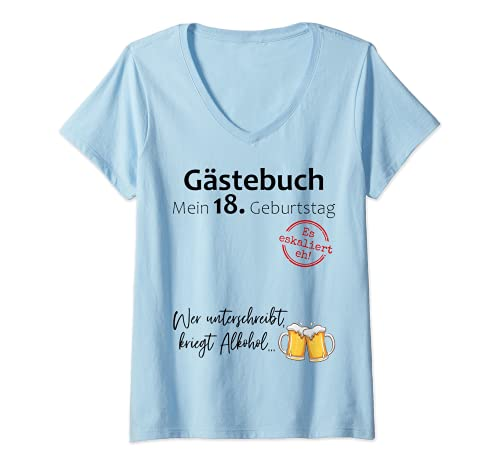 Damen 18. Geburtstag Junge Mädchen Party Gästebuch Lustig Geschenk T-Shirt mit V-Ausschnitt